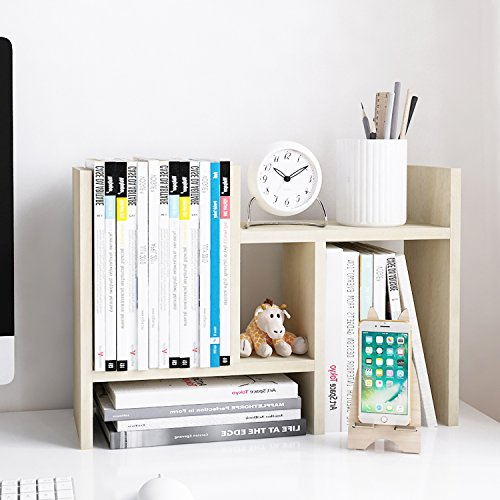 - Jerry & Maggie - Desktop Organizer Office Storage Rack Adjustable Wood Display Shelf - Free Style Double H Display - True Natural Stand Shelf - White Wood Tone