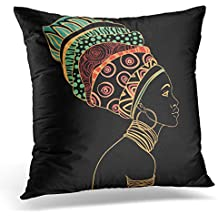 Golee Throw Pillow Cover Black Africa Portrait of Beautiful African Woman with Earring Profile View Jewellery Ethnic Decorative Pillow Case Home Decor Square 18x18 Inches Pillowcase