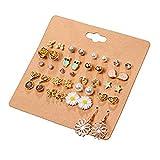 Cyntan Stud Earrings Set Assorted Multiple Stud Earring Jewelry Set With Card For Women Girls