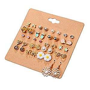 Cyntan Stud Earrings Set Assorted Multiple Stud Earring Jewelry Set With Card For Women Girls