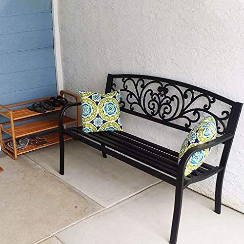 XXFBag Patio Park Garden Bench,Outdoor Bench Metal Bench