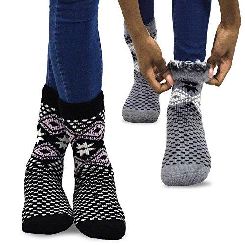 (TeeHee Super Warm Brushed Thermal Crew Socks 2 Pairs Pack (9-11, Snow Flake GRY/BLK))