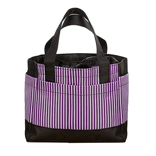 Women Bags❤️COPPEN Hot Sale Useful nsulated Cold Canvas Stripe Picnic Carry Case Thermal Portable Lunch Bag (Purple)