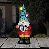 Exhart Solar Light Up Gnome Garden Statue, Solar Powered, Resin, Blue Hat 5″ L x 5″ W x 10″ H Review