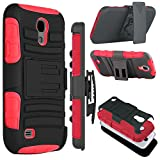 Galaxy S4 Case, Zenic(TM) Hybrid Dual Layer Armor Defender Full-body Protective Case Cover with Kickstand & Belt Clip Holster Combo for Samsung Galaxy S4 i9500 (Red)