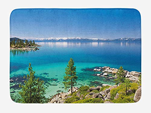 - Weeosazg Blue Bath Mat, Tranquil View of Lake Tahoe Sierra Pines on Rocks with Turquoise Waters Shoreline, Plush Bathroom Decor Mat with Non Slip Backing, 31.5 X 19.7 Inches, Blue Grey Green