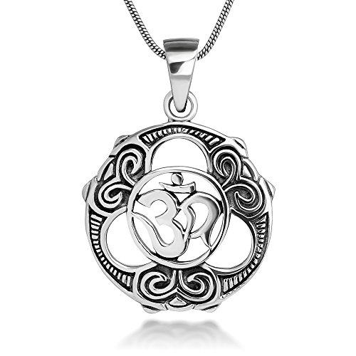 John Lennon Jewelry (Sterling Silver 22 mm Celtic Peace & Unity Aum Om Ohm Sanskrit Symbol Pendant Necklace 18'')