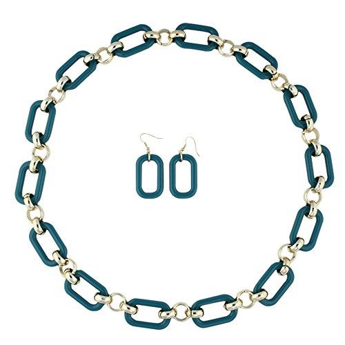 Heirloom Finds Long Gold Tone Teal Blue Plastic Rectangular Link Necklace Earring Set
