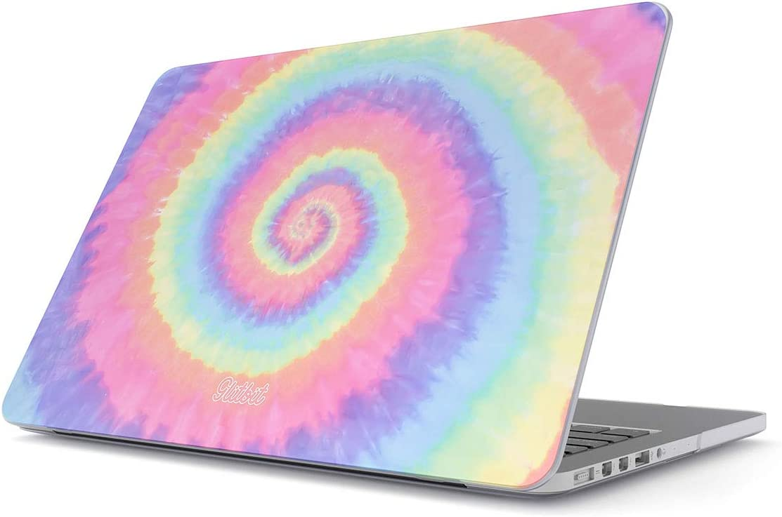 """Glitbit Hard Case Cover Compatible with MacBook Air 13 Inch Case, Model: A1466 / A1369 13-13.3 Inch 13"""" Tie Dye Hippie Hipster Colorful Pastel Rainbow Colors Trippy Swirl Holography Pale 90s 80s"""