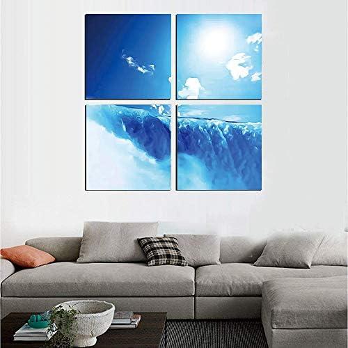 アートパネル モダン もやのかかった美しさ ナイアガラの滝と澄んだ空の風景イメージマジェスティックリバーネイチャーテーマアーティスティックプリント 30x30cm 滝 フレームポスター 壁絵谷HD しゃしん 木枠付きのモダン 新築飾り