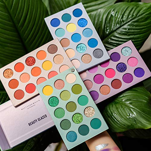 Beauty Glazed 60 Colors Eyeshadow Palette, New 4 in 1 Color Board Makeup Palette High Pigmented Bright Color Nude…