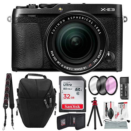 Fujifilm X-E3 Mirrorless Digital Camera w/XF 18-55mm Lens (Black) with 32GB and Xpix Cleaning Kit Bundle