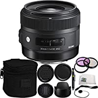 Sigma 30mm f/1.4 DC HSM Art Lens for Nikon Bundle Includes Manufacturer Accessories + 3 PC Filter Kit + Lens Cap + Lens Pen + Cap Keeper + Microfiber Cleaning Cloth