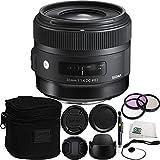 Sigma 30mm f/1.4 DC HSM Art Lens for Nikon Bundle Includes Manufacturer Accessories + 3 PC Filter Kit + Lens Cap + Lens Pen + Cap Keeper + Microfiber Cleaning Cloth