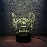 LLWWRR1 Led 3D Lamp Star Wars USB Led Lamp Tie Fighter Desk Lamp Night Light 7 Color Change Christmas Day Toys Cartoon Kids Toy Gifts