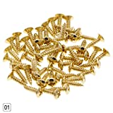 ZHUOTOP 50PCS Screws for Guitar Bass Pickguard Back Plate Tuning Pegs Jack Gold