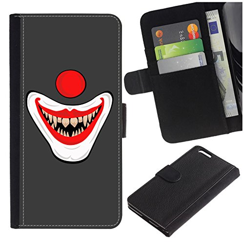 [Cartoon Scary Clown Face] for LG Leon / H340N, Flip Leather Wallet Holsters Pouch Skin -