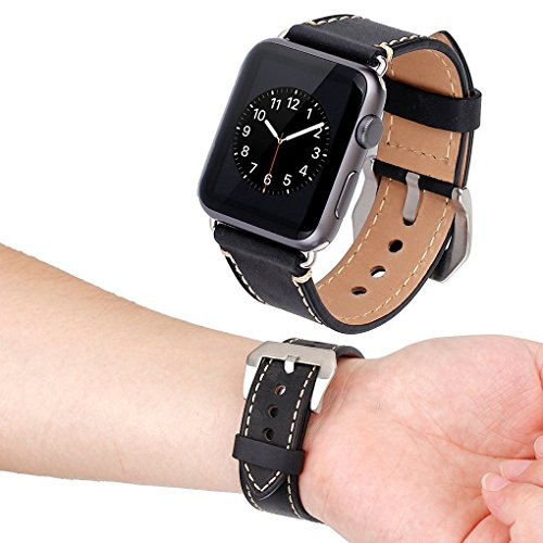Price comparison product image Apple Watch Band, 42mm iWatch Strap, Premium Crazy Horse Genuine Leather Watchband with Classic Metal Adapter Clasp Replacement Wrist Band for Apple Watch & Sport & Edition (Black)