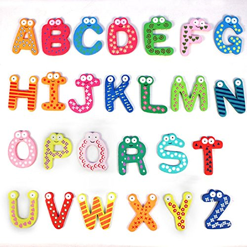 OVERMAL Colorful Cute 26 Letters Wooden Cartoon Fridge Magnet kid's Baby Educational Toy