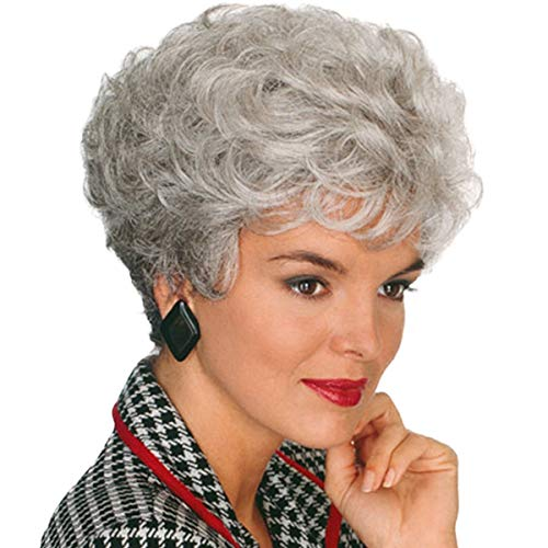 ELIM Gray Wigs for White Women Short Curly Ladies Wig Full Synthetic Hair Wigs with Wig Cap (Silver Gray) Z151