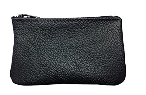 Classic Coin Pouch For Men made with Genuine Leather, Zippered Coin Purse change Holder By Nabob, Black, 4x2