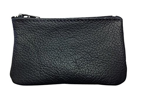 Classic Coin Pouch For Men made with Genuine Leather, Zippered Coin Purse change Holder By Nabob, Black, 4x2 (Make Change Purse)