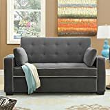 Lifestyle Solutions Monroe Convertible Full Loveseat in Gray