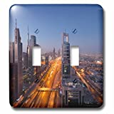 3dRose Danita Delimont - Cities - UAE, Downtown Dubai. High rise buildings along Sheikh Zayed Road - Light Switch Covers - double toggle switch (lsp_277117_2)