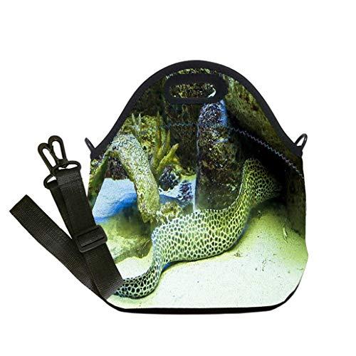 - 3D Print Neoprene Reusable Cooler Fashion Lunch Bag Murena helena dragon moray eel Student Company School, Multicolor, Adults and Children