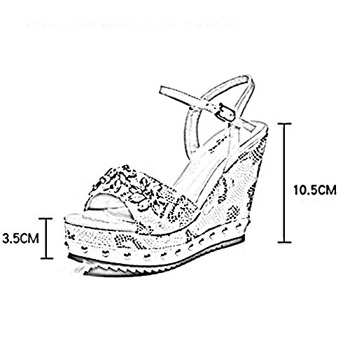 Zhirong Sandales-gradient Été Femme Plate-forme Étanche Strass Pression Individuelle Boucle Heels Haute Bohème Épaisse Chaussures De Plage En Bas 10.5cm (couleur: Jaune, Taille: Eu39 / Uk6 / Cn39) Jaune