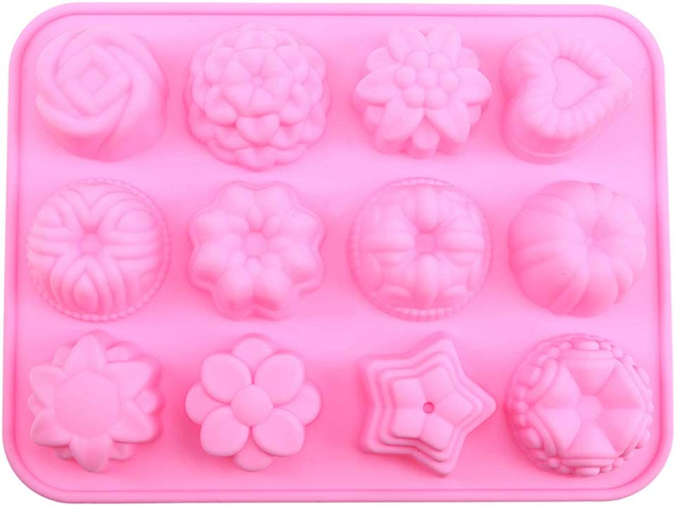 LERTREE 3 Packs Silicone Fondant Cake Molds 12-Cavity Flower Shapes Non-Stick Candy Chocolate Cupcake Molds Ice Cube Trays for Kitchen Baking Cooking Tool
