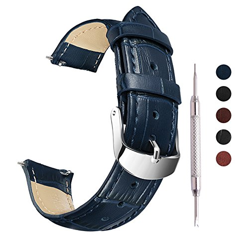 Blue Leather Strap - 22mm Quick Release Leather Watch Band Genuine Watch Strap Replacement Seiko SKX007