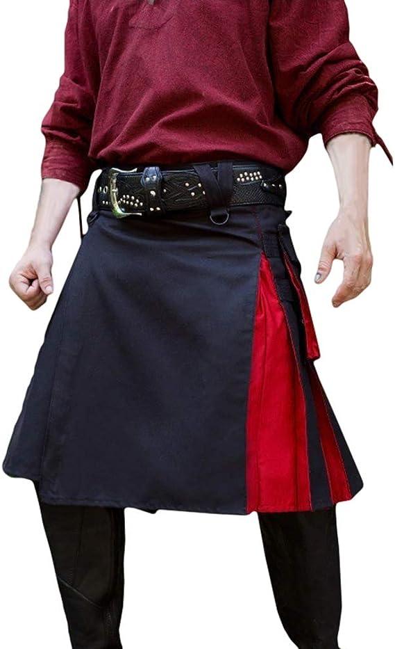 JiXuan Traje Medieval de los Hombres Pantalones de Falda con Fondo ...