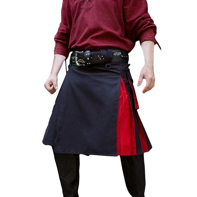 MEIHAOWEI Hombres Mujeres Falda Medieval Patchwork Pantalones ...