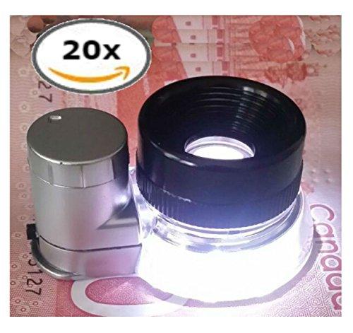 Aircraft Grade Aluminium 20X Jewelers Eye Loupe LED Lighted Magnifying Glass Illuminated Lighting Magnifier Lens For Jewelry Diamonds (Eye Loupe Glass Lens)