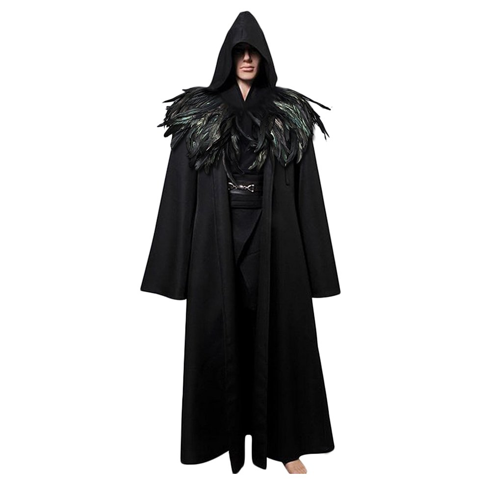 L'vow Fashion Gothic Hooded Mens Black Feather Cape Cloak Long Coats (XXL(Mens)) by L'vow (Image #1)