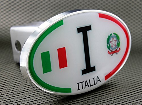 "Oval Italia Italy Flag White Tow Hitch Billet Aluminum Trailer Hitch Cover Fits 2"" Receivers"