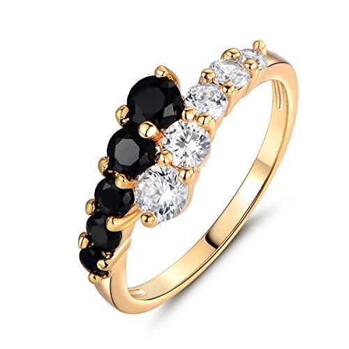 GULICX Black White CZ Ring Yellow Gold Tone Engagement Wedding Statement Band for Women Size 5-9