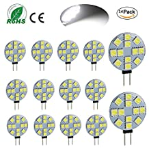 Ei-Home 14 Pack White 6000K Side Pin G4 LED Bulb, 3W Equivalent to 25-30W Halogen Bulb, 5050-12SMD DC 12V LED Lights for Reading, Car, RV, Cabinet Lighting (Not Dimmable)