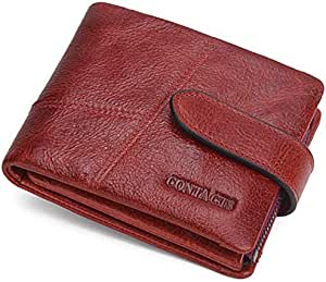 Retro men purse genuine leather short buckle detachable wallet stitching handbag card bag money clip red