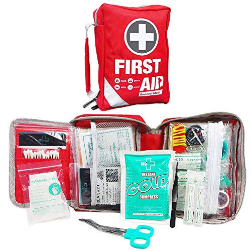 First Aid Kit - Small Compact First Aid Kit Bag(175 Piece) - Reflective Bag Design- Includes 2 x Eyewash,Instant Cold Pack,Emergency Blanket, CPR Face Mask for Travel, Home, Office, ()