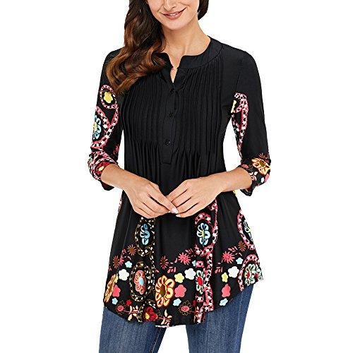 Manche T Tunique Femme Imprime 3 Top Noir Blouse Lache Taille Shirt 4 Uranus Grande tYRFxq