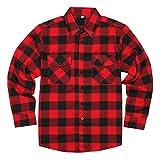 YAGO Men's Long Sleeve Flannel Plaid Button Down Shirt YG2508 (Red/Black, X-Large)