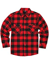 Men's Long Sleeve Flannel Plaid Button Down Shirt