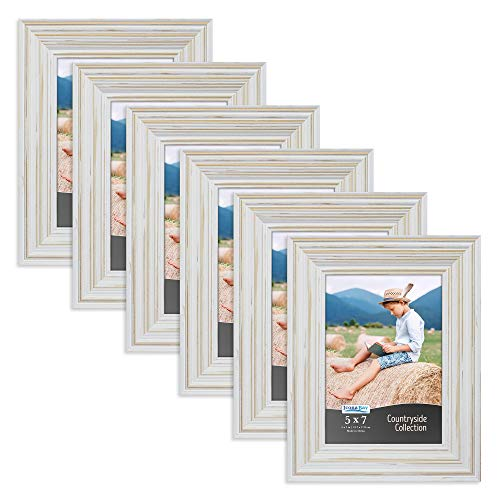 Icona Bay 5x7 Picture Frames (6 Pack, Creamy White), Picture Frame Set, Wall Mount or Table Top, Set of 6 Countryside Collection