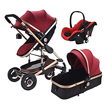 98ec3665b Amazon.com   Baby Stroller 3 in 1 Pram with Car Seat Travel System Baby  Stroller with Car Seat Newborn Baby Comfort Car Seat 0~36 Months (RED)    Baby