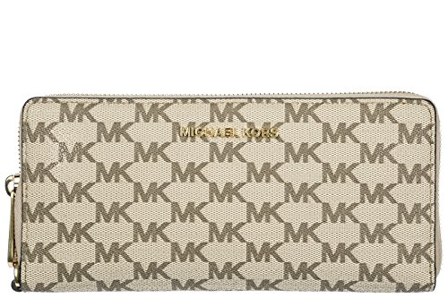 - Michael Kors Jet Set Travel Continental Zip Around Wallet (Natural / Luggage)