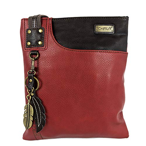 Chala SWING Pack Cross Body Small Purse with Metal Mini Keychain (Red- Feather)