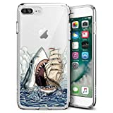 Fashion Anti-Scratch Soft Durable TPU Ultra-Clear Silicone UV Printing Protective Shark Sailboat Phone Case for iPhone 7 Plus 8 Plus