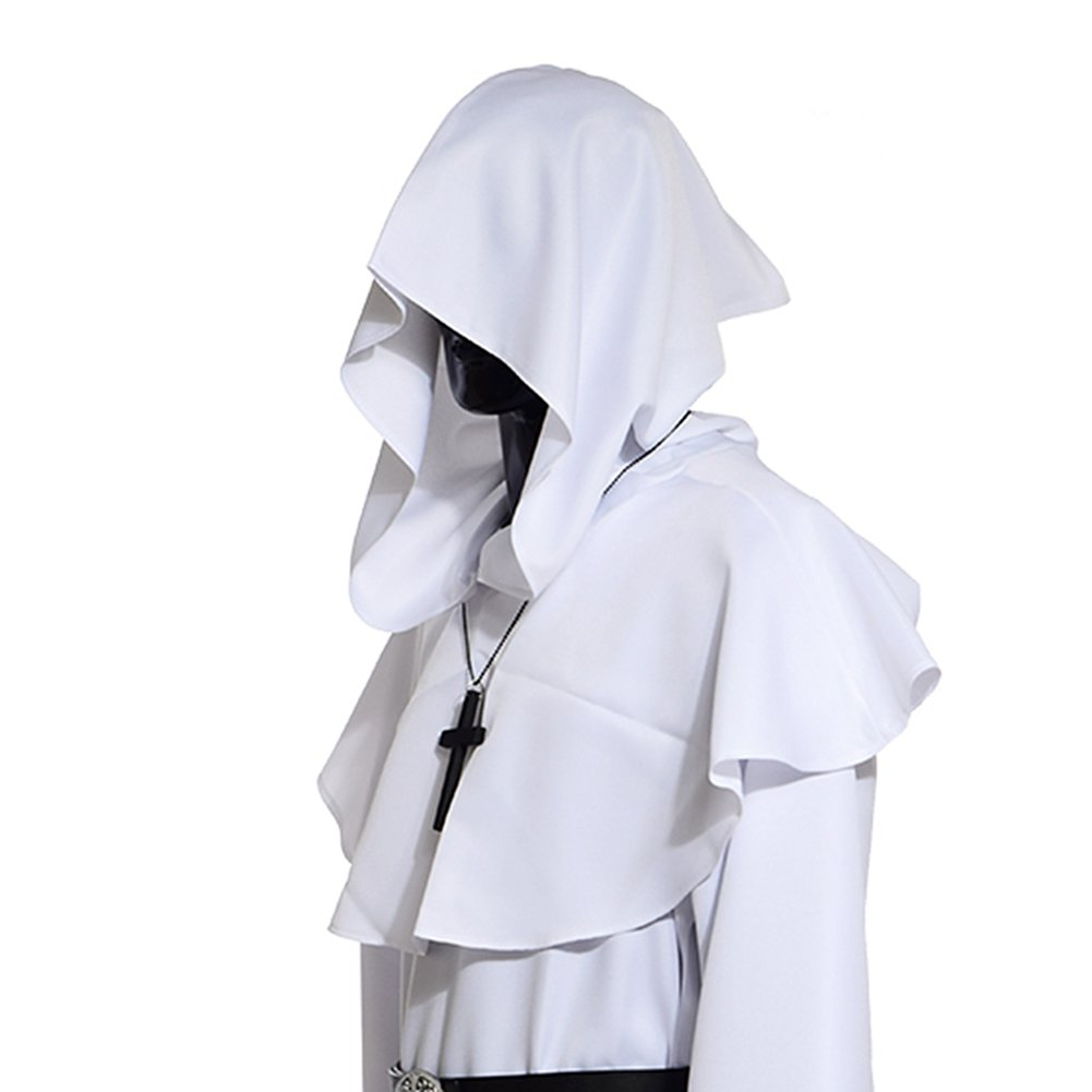 Men's Medieval Pagan White Shoulder Cowl Hood - DeluxeAdultCostumes.com